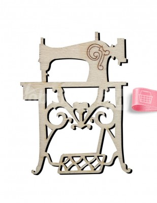 - Ahşap Dikiş Makinası Figürü - 9 x 7 cm - KO54T