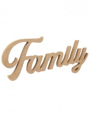 - Ahşap Duvar Süsü - Family Yazı - KD60T