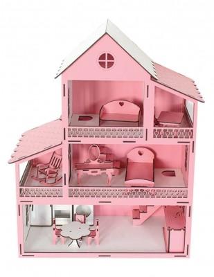 - Ahşap Barbie Ev, Pembe 3 Katlı Oyuncak Ev - KEV10T