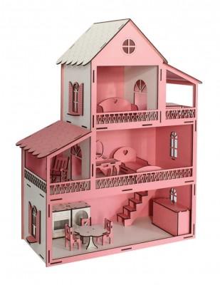 - Ahşap Barbie Ev, Pembe 3 Katlı Oyuncak Ev - KEV10T (1)