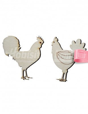 - Ahşap Horoz Tavuk Figürü - 7 cm - KO67T