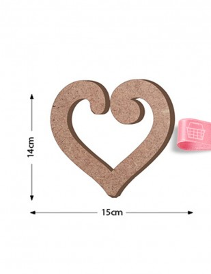 - Ahşap Kalp Figürü - Kalınlık 18 mm - KF9T
