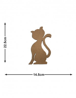 - Ahşap Kedi Figürü - Kalınlık 18 mm - KF36T
