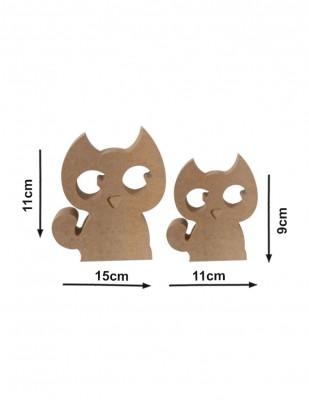 - Ahşap Kedi ve Yavrusu - Kalınlık 18 mm - KF51T