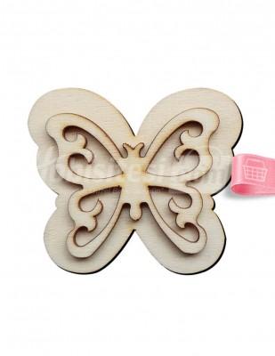 - Ahşap Kelebek Figürü - 8 x 7 cm - KO66T