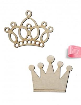 - Ahşap Kral ve Kraliçe Tacı - 4 x 4 , 4 x 5 cm - KO28T