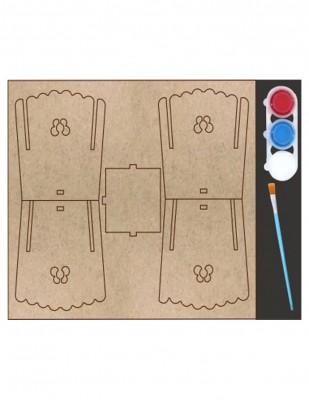 - Ahşap Maket, Kalemlik Seti ve 3 Farklı Boya ve Fırça - KMS6T (1)