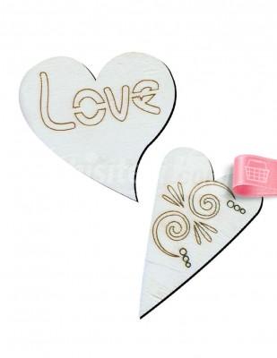 - Ahşap Mini Kalp Figürleri - 4 x 6 cm - KO78T