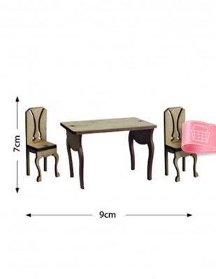 - Ahşap Minyatür - Masa Sandalye - KMY15T
