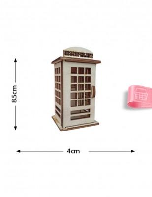 - Ahşap Minyatür - Telefon Kulübesi - KMY33T