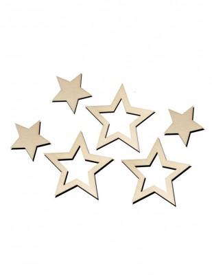 - Ahşap Obje - Yıldız Set - 4.5 x 4.5 cm - KO6T