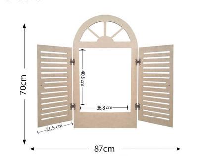 - Ahşap Panjurlu Pencere - Panjurlu Pencere Ahşap Duvar Süsü - KCH12T