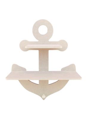 - Ahşap Raf - Denizci Çapası Figürlü İkili Ahşap Raf - KR14T