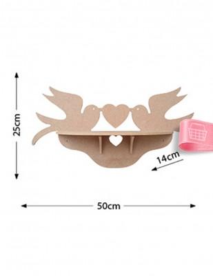 - Ahşap Raf - Kuş ve Kalp Figürlü Raf - KR9T (1)