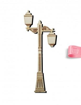 - Ahşap Sokak Lambası Figürü - 15 cm - KO45T