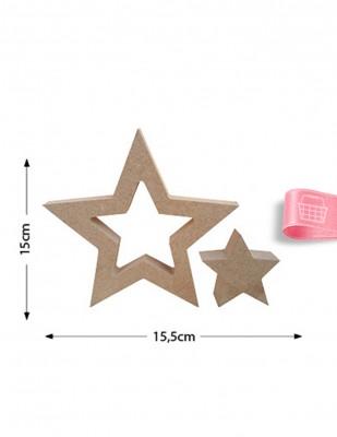 - Ahşap Yıldız Figürü - 2li Set - Kalınlık 18 mm - KF14T