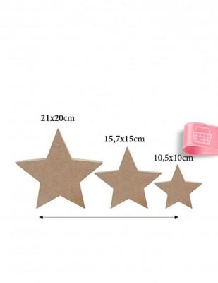 - Ahşap Yıldız Figürü - 3lü Set - Kalınlık 18 mm - KF27T