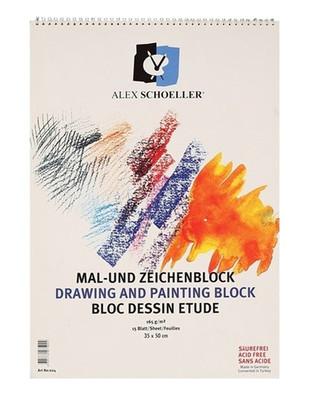 ALEX SCHOELLER - Alex Schoeller Drawing and Painting Block - Çizim ve Boyama Defteri - 35 x 50 cm - 15 Yaprak