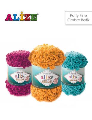 ALİZE - Alize Puffy Fine Ombre Batik El Örgü İplikleri - 500 gr - 73 metre