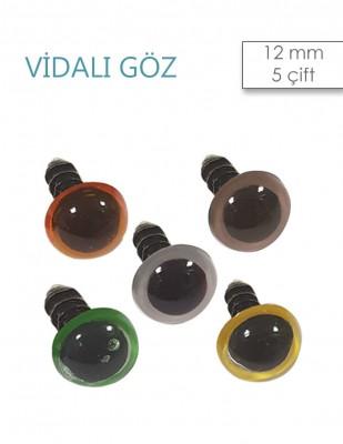 - Amigurumi Vidalı Göz - 12 mm - 5 Çift
