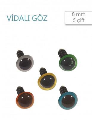 - Amigurumi Vidalı Göz - 8 mm - 5 Çift