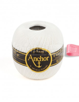 ANCHOR - Anchor 6 Katlı Dantel İpliği - No: 60 - 100 gr - Beyaz