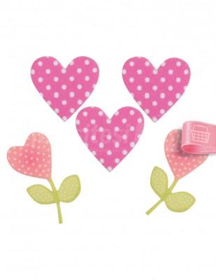 NAKO - Arma - Ütü İle Yapışır - Kalp Çiçek - 3 x 3 cm
