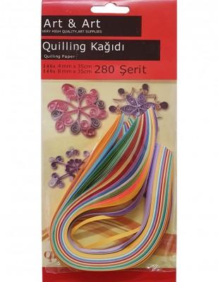 - Art & Art Quilling Paper, Kağıt Sanatı Renkli Şeritler - 4mm 140 Adet, 8mm 140 Adet - 280 Adet