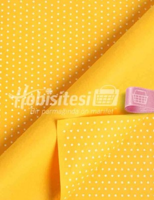 - Baskılı Keçe - Puantiyeli Sarı/Beyaz - 1mm - 41 x 41 cm