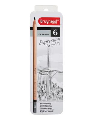 ROYAL TALENS - Bruynzeel Expression Graphite Karakalem Çizim Seti, Grafik Kalem Seti, Metal Kutulu - 6 Adet / Set