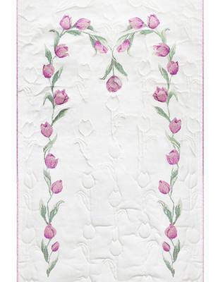 - Buket İplik İle Seccade Kiti - Belkıs Şansal Kreasyonu - Pembe Lale - 130 x 70 cm