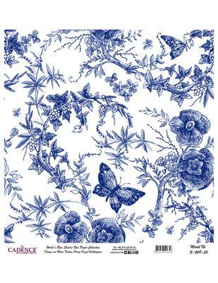 Cadence Pirinç Kağıdı - Dünyanın Mavi Tonları - 30 x 30 cm - K009