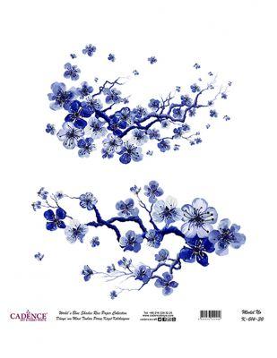 Cadence Pirinç Kağıdı - Dünyanın Mavi Tonları - 30 x 30 cm - K014