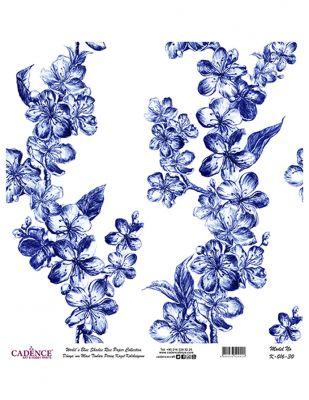 Cadence Pirinç Kağıdı - Dünyanın Mavi Tonları - 30 x 30 cm - K016