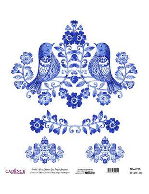 Cadence Pirinç Kağıdı - Dünyanın Mavi Tonları - 30 x 30 cm - K019
