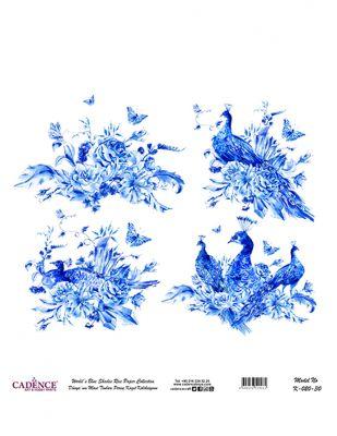 Cadence Pirinç Kağıdı - Dünyanın Mavi Tonları - 30 x 30 cm - K020