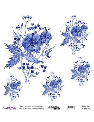 Cadence Pirinç Kağıdı - Dünyanın Mavi Tonları - 30 x 30 cm - K022