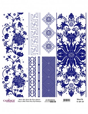 CADENCE - Cadence Pirinç Kağıdı - Dünyanın Mavi Tonları - 30 x 30 cm - K051