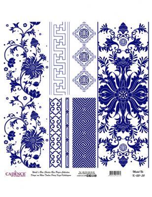 Cadence Pirinç Kağıdı - Dünyanın Mavi Tonları - 30 x 30 cm - K051