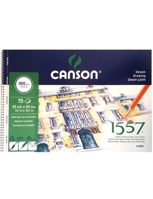 CANSON - Canson 1557 Dokulu Sulu ve Kuru Teknik için Çizim Defteri - 35 x 50 cm 180 gr 15 Yaprak