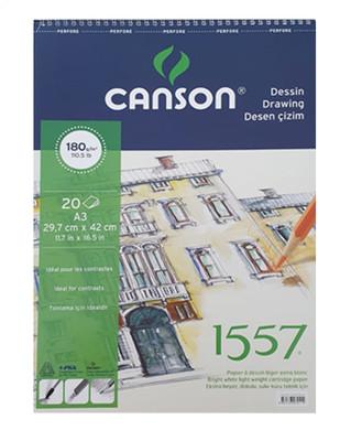 CANSON - Canson 1557 Dokulu Sulu ve Kuru Teknik için Çizim Defteri - A3 180 gr 20 Yaprak