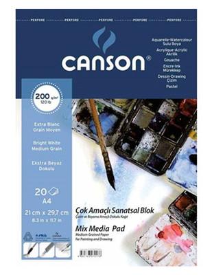 CANSON - Canson Çok Amaçlı Sanatsal Blok - Suluboya ve Akrilik Boyalar - A4