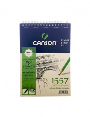 CANSON - Canson 1557 Drawing, Desen Çizim Defteri, A5 - 120 gr - 40 Yaprak