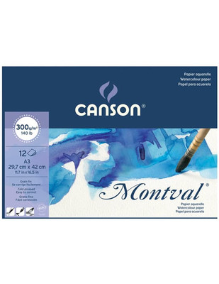 CANSON - Canson Montval Watercolour Paper - Suluboya Sanatsal Defter - A3 300 gr 12 Yaprak