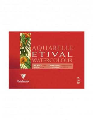CLAIREFONTAINE - Clairefontaine Aquarelle Etival Watercolour Paper Grain Fin, 18x24 cm - 300 gr - 30 Yaprak
