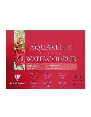 CLAIREFONTAINE - Clairefontaine Aquarelle Etival Watercolour Pad,Grain Clasic, A3 - 200 gr - 30 Yaprak