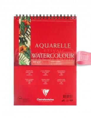 CLAIREFONTAINE - Clairefontaine Sulu Boya Çalışma Defteri, Eskiz Defteri - A4 30 Yaprak - 300 Gr