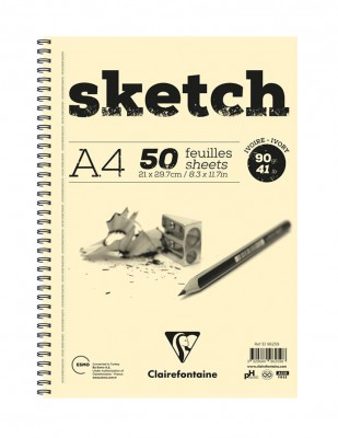 CLAIREFONTAINE - Clairefontaine Sketch Eskiz Defteri, A4 - 90 gr - 50 Yaprak