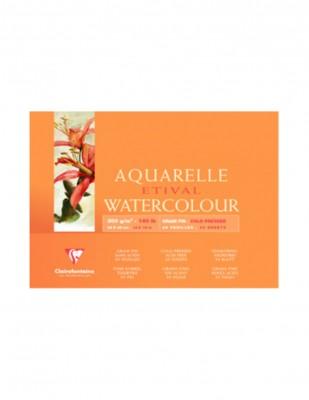 CLAIREFONTAINE - Clairefontaine Aquarelle Etival Watercolour Paper Grain Fin, 30x40 cm - 300 gr - 30 Yaprak