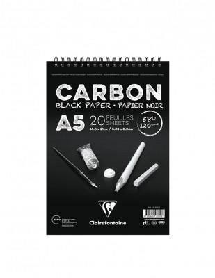 CLAIREFONTAINE - Clairefontaine Carbon Black Paper Çizim Defteri, A5 - 120 gr - 20 Yaprak